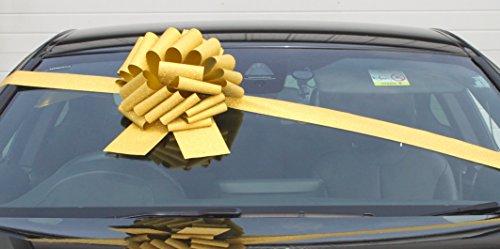 Große goldglitzernde Schleife (30 cm) mit 3 Meter Band für Autos, Fahrräder, große Geburtstags- und Weihnachtsgeschenke