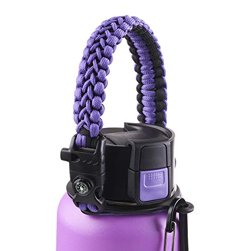 WaterFit Paracord Handle - Paracord Carrier Survival Strap Cord with Safety Ring and Carabiner Compatible with Hydro Flask Wide Mouth Water Bottles 12oz - 64 oz
