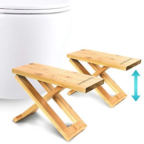 Physiologischer Toilettenhocker aus Bambus – Fußhocker aus Holz zusammenklappbar - Klapp- und Designfußstütze - gesunde Sitzhaltung auf Toilette - Klo Hocker von Ärzten empfohlen