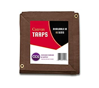 CCS CHICAGO CANVAS & SUPPLY Canvas Tarpaulin Brown 12 by 20 Feet  Available in 9 More Sizes