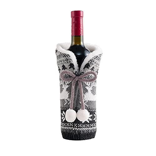 KU Syang Cubiertas de Botellas de Vino de Navidad Bolsa de Regalo Cubierta de Botella de Papá Noel de Vacaciones Feliz Navidad Decoraciones de Mesa para el Hogar Gris