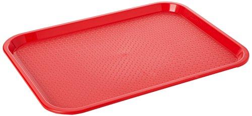 Kristallon P504 Bandeja mediana para servir comida hecha de plástico rojo.