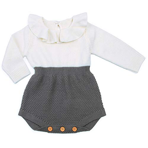 Urkutoba Baby Girls Romper Knitted Ruffle Long Sleeve Jumpsuit Baby Kids Girl Romper Autumn Winter Casual Clothing (0-6 Months, Gray)