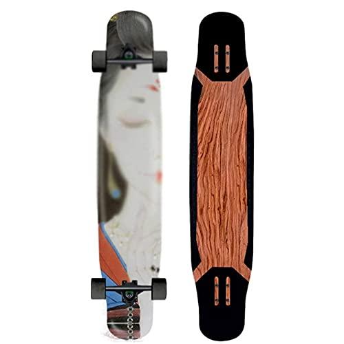 TR-yisheng Dance Longboard Double Kick Deck Skateboard, Principiante Profesional Scooter de Cuatro Ruedas Cepillo Street Dance Board Joven Adulto Mejor Regalo 47 Pulgadas
