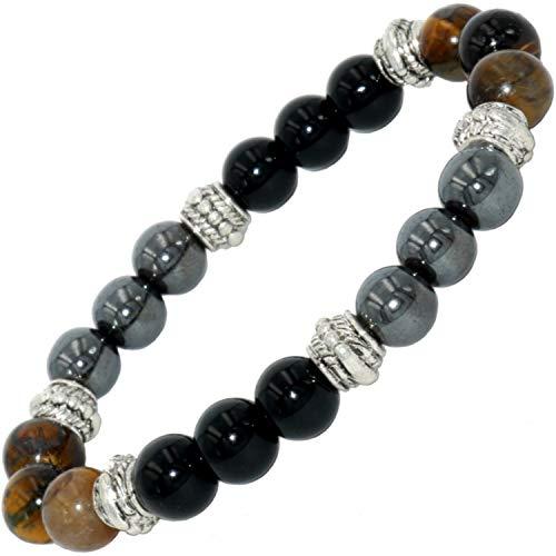 Dreifach-Schutz-Armband mächtiges Tigerauge, Obsidian, Hämatit, Mann, Frau, Natursteine, gegen bösen Blick, Lithotherapie als Geschenk