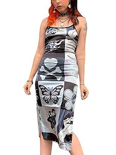 MoccyBabeLee Vestido de tirantes sexy para mujer, con correa de espagueti delgada, sin espalda, con encaje, para fiesta bodycon