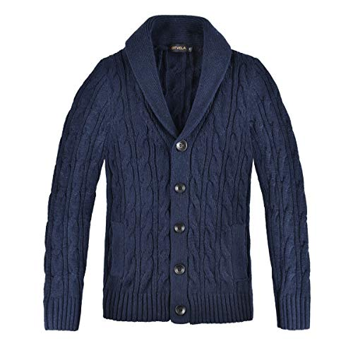 Men Cable Knit Sweaters With Buttons