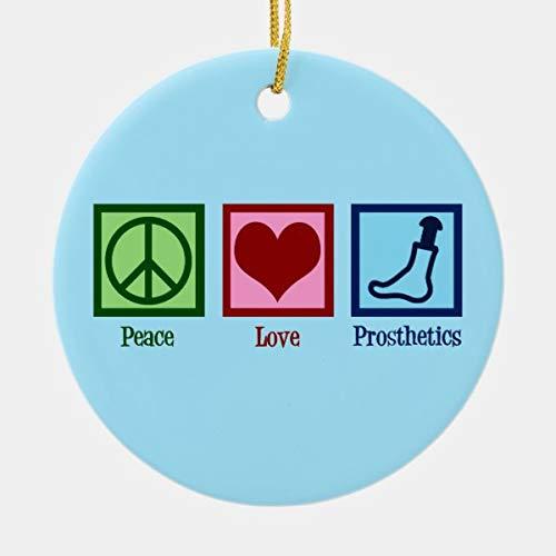 Lplpol Adorno de cerámica de Navidad Año Nuevo con la paz y el amor prótesis para decoración del árbol de Navidad