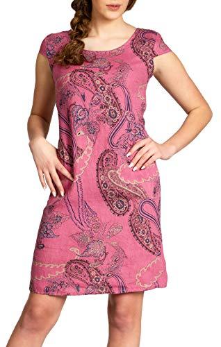 Caspar SKL022 Damen Sommer Leinenkleid mit Paisley Print bis Größe 50, Farbe:Fuchsia, Größe:L - DE40 UK12 IT44 ES42 US10