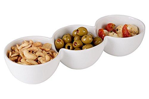 3Fächer Snack Tablett, weiß Porzellan Servierplatte Tisch Aperitif