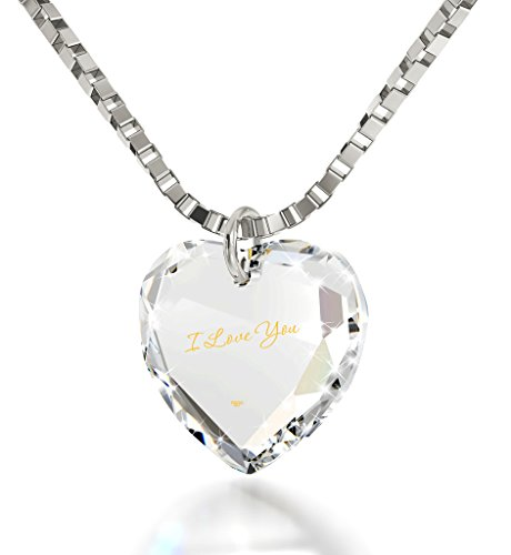 Tiny Heart Pendant with I Love You Inscribed in 24k Gold on a Clear Sparkling Crystal Promise Necklace with Miniature Calligraphy Text Anniversary Jewelry for Her, 18' 925 Sterling Silver Chain