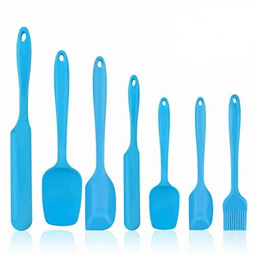 TeamFar Silicone Spatula Set of 7, Rubber Spatula Silicone Heat Resistant Kitchen Utensils Set, for Baking Cooking Mixing, Healthy & Non Stick, Seamless & Sturdy, Dishwasher Safe - Blue