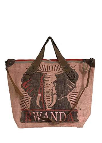 HOGACA coole Damen-Handtasche Mod.4.8 Elefant Lachs rosa aus recycelten Kaffeesack Kaffeebohnensack-Leinen Juttesack Country Line Shopper Damenhandtasche Sommer-Strand-Hippie-Ibiza-Tasche