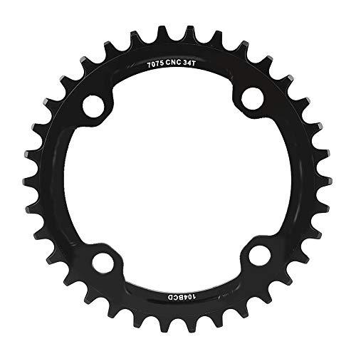 Alomejor Anello di Catena per Bici 32/34/36 / 38T BCD 104mm Bicicletta Corona in Acciaio Singola Manovella per Riparazione di Corona Mountain Bike(34T-Nero)