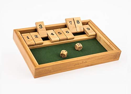 pandoo Klappbrett aus Bambus | Gesellschaftsspiel ab 2 Personen | Würfelspiel für jung und alt
