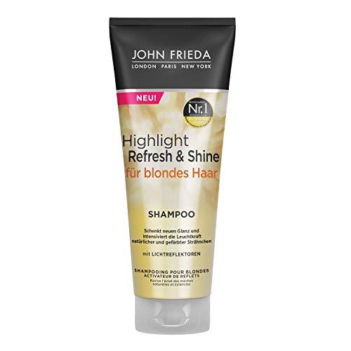 John Frieda Highlight Refresh & Shine - Shampoo für blondes Haar - Schenkt neuen Glanz und intensiviert die Leuchtkraft von Strähnchen, 250 ml