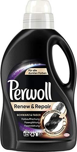 Perwoll Renew & Repair Schwarz & Faser, Flüssigwaschmittel für alle dunklen Farben 1er Pack (24 Waschladungen)