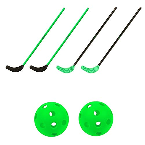 TOOLZ Hockey Set mit 4 Hockey Schlägern (108cm lang) + 2 Hockeyball gelocht - Straßenhockey, Rollhockey, Hallenhockey, Schulhockey, Indoor & Outdoor geeignet