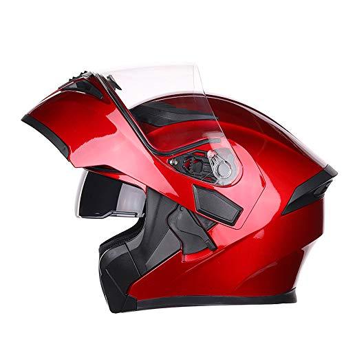 Motorrad Helm Klapp Helm Integralhelm Motorradhelm mit Doppelvisier Scooter Roller Helm für Damen und Herren,Rot,XXL