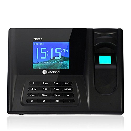 Realand ZDC20 Fingerprint Time Clock Attendance Biometric Time Attendance Recorder System(2.8 Inch TFT screen,Fingerprint + Password + ID Card,Support USB Flash Drive Download)