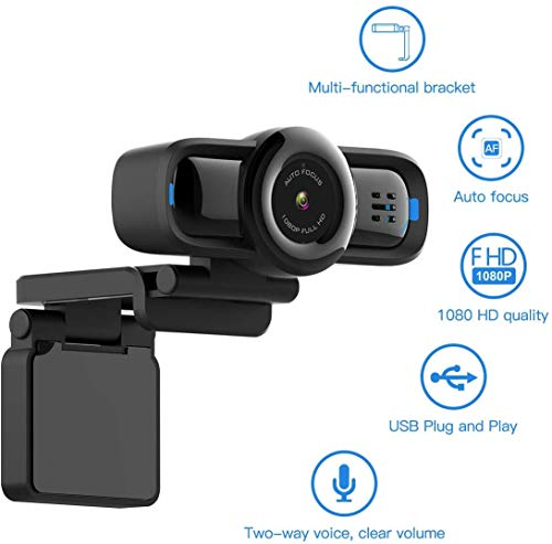 Dericam 1080P Auto Focus Live Streaming Webcam, USB Plug and Play Desktop/Laptop/Computer Camera, 90° Wide Viewing Angle, Privacy Protection Button, Built-in Mic, Flexible Rotatable Clip, W2P.