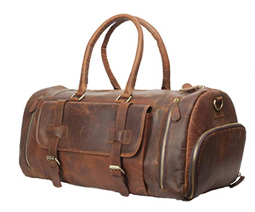 Vintage Crazy Horse Leather men's Travel Duffle luggage Bag Gym Sports Overnight Weekend (28')