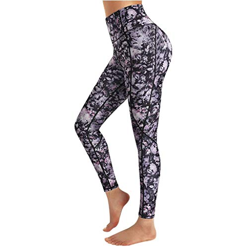 SHOBDW Mujeres Carta de Moda Estirar Imprimir Push Up Entrenamiento Leggings Gimnasio Deportes Gimnasio Cintura Alta Mallas para Correr Pantalones de Yoga Pantalones Deportivos Suaves(Negro,XL)