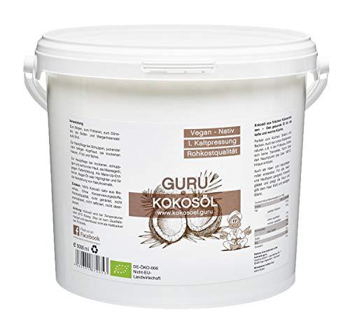 Guru Kokosöl nativ und naturrein -Bio Qualität- 1. Kaltpressung - Rohkost - Vegan - Bio-Kokosfett (PE-Dose, 5000ml)