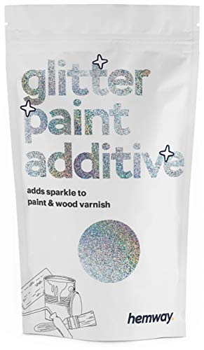 Hemway (Silver Holographic) Glitter Paint Additive Crystals 100g / 3.5oz for Acrylic Latex Emulsion Paint - Interior Exterior Wall, Ceiling, Wood, Varnish, Dead Flat, Matte, Gloss, Satin, Silk