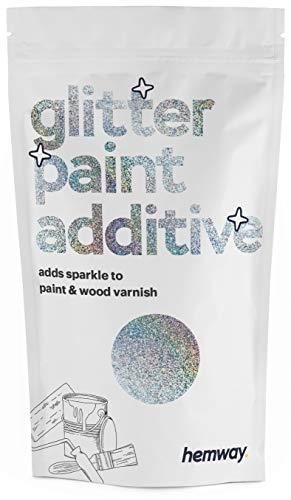 Hemway Glitzerlackzusatz Mischfarben auf Wasserbasis für Wand Decke - 100g - Holografisches Silber