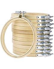 Healifty 12St 7 Inch Borduurring Set Bulk Bamboe Cirkel Kruissteek Hoepel Ronde Ring Verstelbare Haak Cirkel Display Frame Voor Ambachtelijke Naaien Home Decor