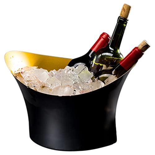 QIFFIY Balde de Hielo Lingot Monocouche Champagne Bucket Vino Rojo Cubo de Hielo Bar KTV Cubo de Cerveza de la Noche Cubo de Vino Occidental Cubiteras (Color : Black)