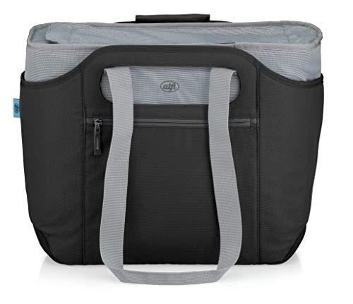 alfi Thermo-Kühltasche, isoBag XXL groß 30 Liter - Isolierte Einkaufstasche aus Polyester, schwarz 54 x 38 x 40 cm - 2in1, Isoliertasche inkl. extra Tragetasche - 0007.233.813