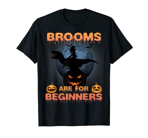 T Rex Bruja Halloween Divertidas Escobas Son Para Principiantes Camiseta