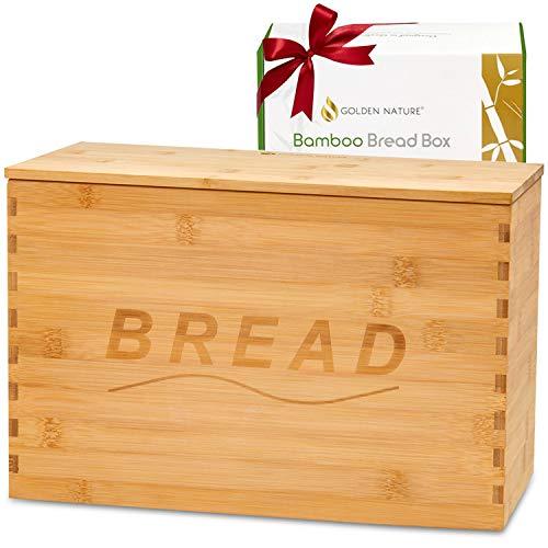 Golden Nature Bamboo Bread Box - With Bread Board Lid - Bread Box for Kitchen Countertop - Farmhouse Kitchen Decor - Bread Box For Kitchen Storage - Bread Basket Bread Storage Farmhouse Decor Breadbox
