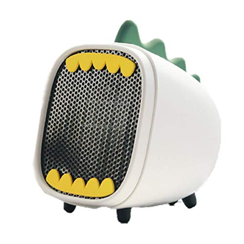 BEIAKE Mini Home Electric Heater with Over Temperature Dinosaur 2-Step Switch PTC Ceramic Heating Desktop Office Bathroom,White