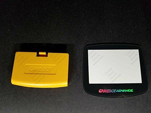 ClassicGameSource Gelbe Batterieverschlussdeckel Tür Logo + Glas Holo-Bildschirm für Game Boy Advance
