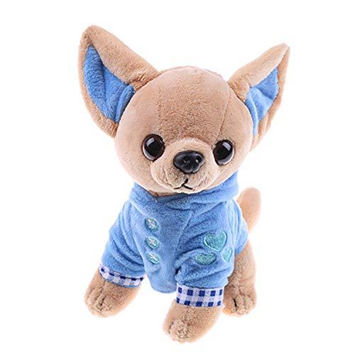 ypypiaol 17cm Nettes Mini Chihuahua Hund Plüschtier Weiche Kuscheltier Puppe Geburtstagsgeschenk Blau