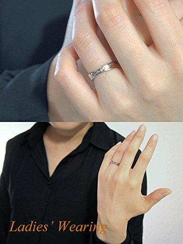 [セピア]Sepia[特別仕様]クロスライン天然ダイヤステンレスペアリング(レディース11号とメンズ15号)指輪2個セットお揃い