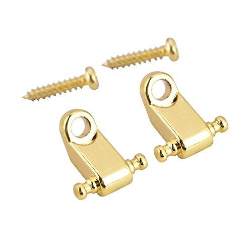 Dilwe 2 Stück Gitarrensaitenhalter, Rollschnur Baumhalter mit Schraube für E Gitarre Bass(Gold)