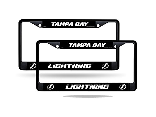 Rico Tampa Bay Lightning NHL Black Metal (2) License Plate Frame Set
