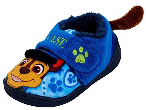 Zapatillas con forro polar 3D para niños de la Patrulla Canina, para niños, tamaño de Chase, color Azul, talla 22 EU