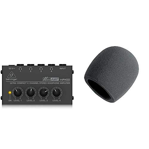 Behringer Microamp HA400 Ultra-Compact 4-Channel Stereo Headphone Amplifier,Silver & On-Stage Foam Ball-Type Microphone Windscreen, Black