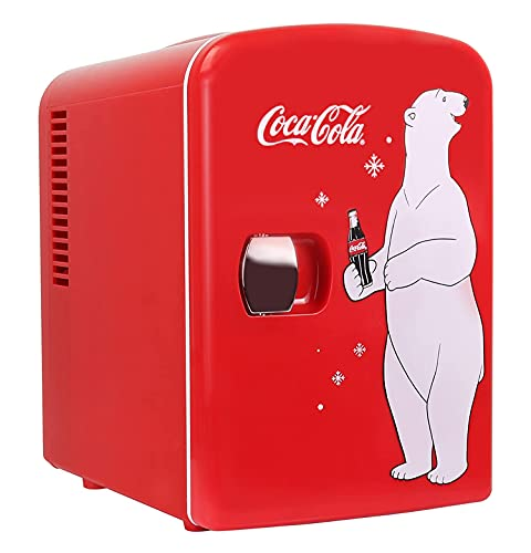 Coca Cola Mini Fridge Polar Bear 4 Liter/6 Can Portable Fridge/Mini Cooler for Food, Beverages, Skincare -Use at Home, Office, Dorm, Car, Boat-AC & DC Plugs Included, Red