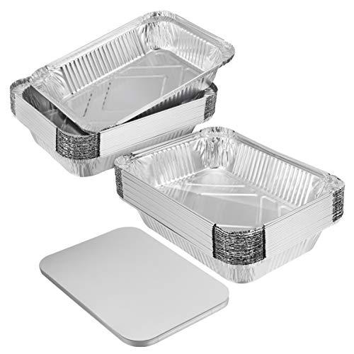 BESTonZON 20PCS Große Hochleistungs Aluschalen Grillschalen mit Brett-Deckeln für das Kochen, Rösten, Backend - 229 x170x46 mm