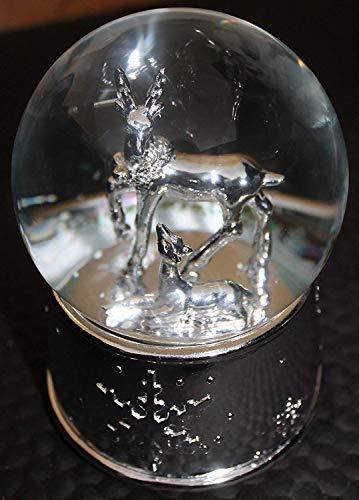 The Good Life MUSICAL Christmas Xmas Reindeer & Fawn Snow Globe Ball Snow Storm Plays WE WISH YOU A MERRY XMAS