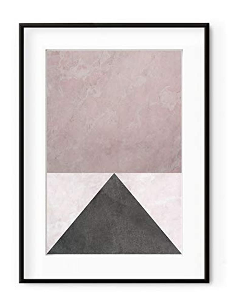 Geometric Marble, Natural Solid Oak Frame, with Mount, Multicolored, 30x40