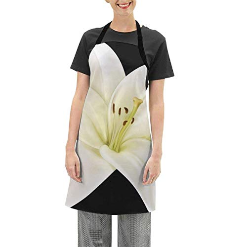 Darlene Ackerman(n) Schöne weiße Blume Clipart verstellbare Schürze Küche Kochen Soft Chef Lätzchen Schürze für Frauen Handwerk BBQ Zeichnung im Freien