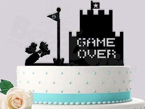 Mario and Peach Game Over Gamer Wedding Engagement Party Cake Topper