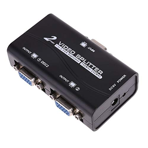 For Sale! Occus - Cables New 1 to 2 250MHz HD VGA UHD Signal Splitter Video Duplicator Amplifier Box...